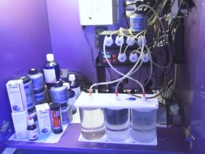 3 soluzioni del metodo balling (calcio+calcio+magnesio) collegate alle pompe dosometriche