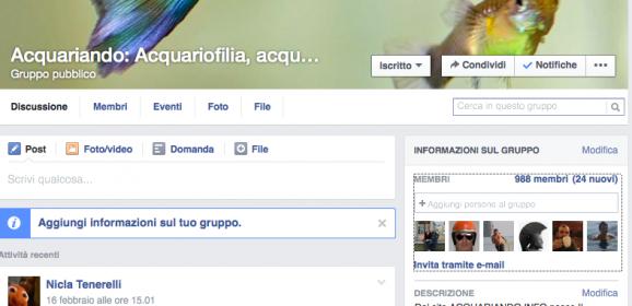 Vicini ai 1000 iscritti al gruppo ACQUARIANDO su FACEBOOK!