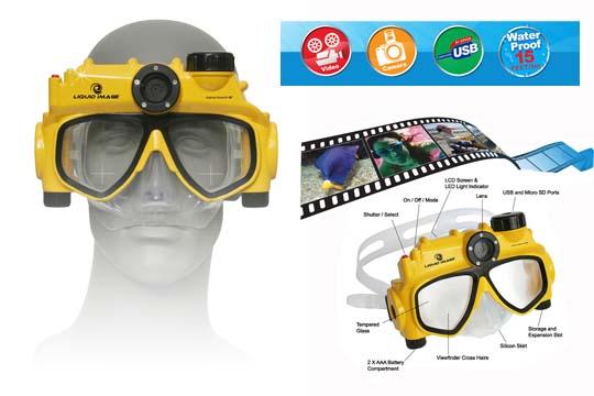 Maschera sub con macchina fotografica digitale iintegrata